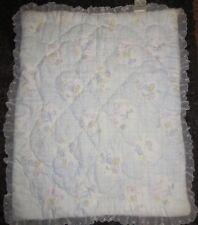 Vintage Quiltex Downlon Baby Blanket  White Lace Around the Edge