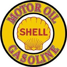 Shell Motor Oil Gasoline Round Tin Metal Sign Garage Ad Made In USA