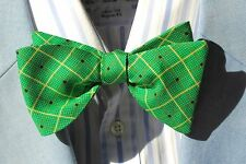 Bow Tie Club Gent's Green & Ivory Check Adjustable Self-Tie Silk Bow Tie - USA