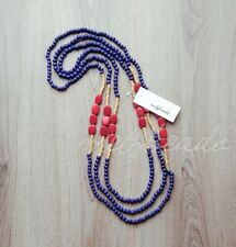 Wooden Bead Necklace Women Statement Necklace Eclectic Fashion Layered Blue Red