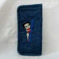 Preowned Betty Boop Folded Denim Wallet With Embroidered Design 6 5/8 W x 3 3/8""