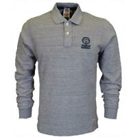 Franklin & Marshall Mens Polo Shirt Grey Logo Long Sleeve Cotton RRP £65