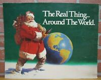Vintage COCA-COLA SANTA Sign Coke Cardboard Ad The Real Thing Around the World