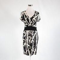 Black white floral print TALBOTS stretch short sleeve A-line dress 6P