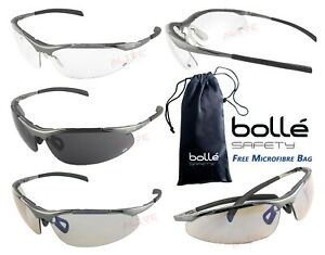 BOLLE CONTOUR METAL Safety Glasses UV Protection Spectacles FREE MICROFIBRE BAG