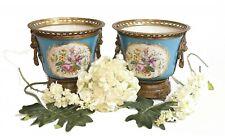 More details for pair sevres porcelain planters floral cache pots urns