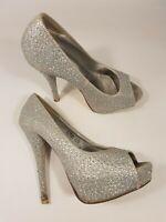 Catwalk size 5 (38) silver faux leather diamante peep toe platform stilettos