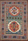 Vegetable Dye Geometric GREEN 4'x5' Kazak Russian Oriental Area Rug Wool Carpet