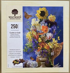 "WENTWORTH ""Garden in Gold"" 250 piece Wooden JIGSAW PUZZLE Whimsy"