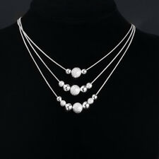 Fashion Women Beads Silver Plated Necklace Pendant Chain Multi-beads Jewelry