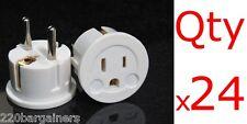 24pk American to European Plug Adapter US USA to Europe EU Two Round Pin White