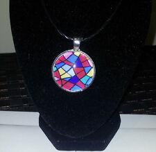 Glass Pendant - Geometric colours Cabochon on a black necklace JoMacDesigns