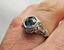 ORNATE ANTIQUE 18K WHITE GOLD FILIGREE SAPPHIRE DIAMOND RING