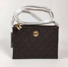 NWT Michael Kors Brown Crossbody PVC Handbag MK Signature Messenger Bag