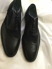 NEW Lambertson Truex Men's Charles Calf Leather and Canvas Brogues - 10
