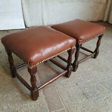 More details for two,pair,vintage,1930's,oak,leather,stools,turned legs,footstool,stool,studded