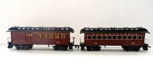 HO TYCO Pair Old Time Pennsylvania Coach Passenger Cars Horn Couplers (6)G