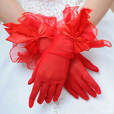 wholesale 10x Bridal Wedding Glove Prom Costume Short Bow Evening gloves Red