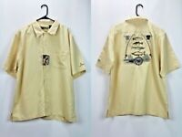 Field & Stream Mens Size Large Short Sleeve Button Up Shirt Embroidered Fishing