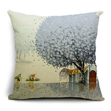 Vintage Linen Hemp Cotton Couch Sofa Cushion Cover Pillow Grey Tree 45X 45 cm