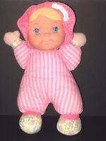 Goldberger Vinyl Face Cloth Baby Doll Pink White Stripe Floral Feet Blonde Toy
