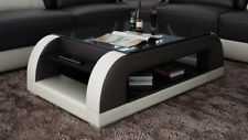 Leather Coffee Table Modern Glass Design Living Room CT9012s