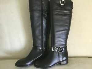 New Womens Size 8 Black Leather Knee High Wide Calf (17inch) Boot