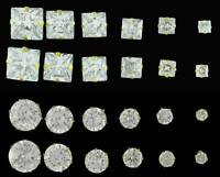 9CT GOLD CZ STUD EARRINGS ROUND OR SQUARE BRILLIANT CLEAR WHITE CUBIC ZIRCONIA