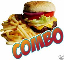 Burger Hamburger Fries Combo Food Truck Cart Concession Vinyl Sign Decal 14