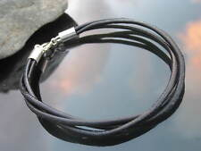 Genuine Black Leather 2mm Cord Bracelet with 925 Sterling Silver Ends and Clasp