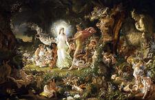 The Quarrel of Oberon and Titania A2 by Joseph Noel Paton Quality Canvas Print