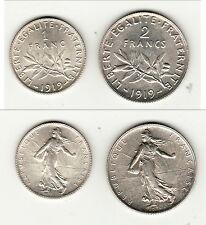 RARE  DUO 1 FR et 2 FRANCS SEMEUSE ARGENT FDC 1919 exeptionnelle monnaie !