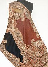 Great For Travel Wool Jamavar Paisley Shawl. Practical Jamawar Stole Pashmina