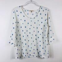 41 Hawthorn Size Medium 3/4 Sleeve Blouse Top White Blue Printed Scoop Neck