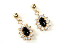 9ct Gold Black Onyx and CZ Cluster Drop earrings Made in UK Gift Boxed