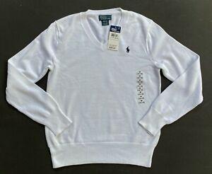 Polo Ralph Lauren Pima Sweater V Neck Pullover Kids M 10-12 GENUINE NEW