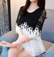 Women Bell Sleeve Casual Chiffon Shirt  Summer  Lace Splice Blouse Top Plus Size