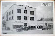 1940s Postcard: Hotel Flagler & Drug Store - Miami, Florida FL