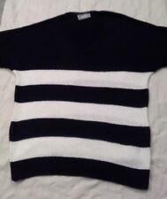Wallis short sleeve jumper, navy white stripe,  size small