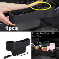 Upgrade 2 USB Leather Catcher Box Car Seat Gap Filler Pocket Storage Organizer
