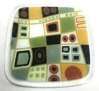 """Fused Art Glass Rounded Square 8"""" Plate Geometric Signed"""