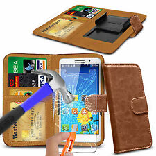 For BLU Life One (2015) - Clip On PU Leather Book Wallet Case & Glass