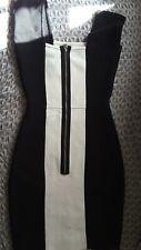Vestido de fiesta Bcbg maxazaria Vendaje Monocromo Celebrity blanco negro XS UK 6 8