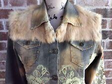 Anthropologie Hazel Distressed Denim Jean Jacket Acid Washed Sequin Fur Large