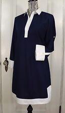 NWT J. CREW COTTON CAMP TUNIC DRESS NAVY BLUE WHITE SIZE 8 Retail $128