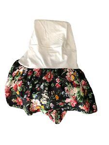 "Ralph Lauren Cossette Isadora KING Dust Ruffle Bedskirt Black Floral 15"" Drop"