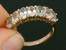 9ct  Rose Gold 9K Gold  Morganite & Aquamarine Hallmarked ring size L