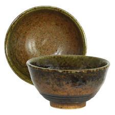 "Japanese Rice Soup Bowl 4.75""D Ceramic Minokodo Brown Green Rust Made in Japan"