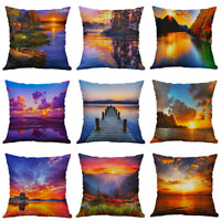 """Sunset Pillow Cover 18"""" Sofa pillow Covers Case Home Waist Cushion Decor Scenery"""