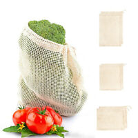 Reusable Cotton Mesh Fruit Bag String Grocery Fruit Storage Shopping Bags New